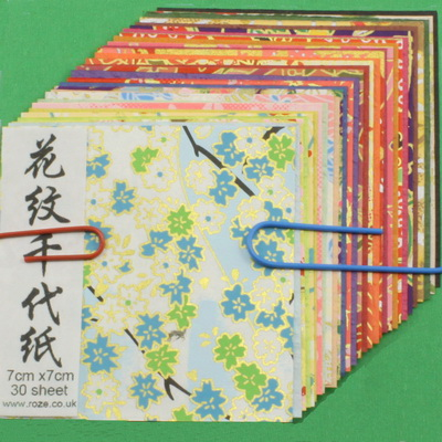 Yuzen Chiyogami floral patterns less than 2.8 inch (7 cm)