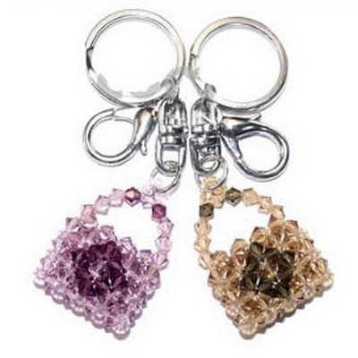 Crystal bead keyring