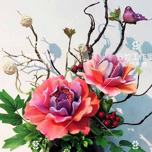 Blooming peony, nylon flowers