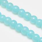 Beads, Glass, Light blue , Round shape, Diameter 6mm, 20 Beads