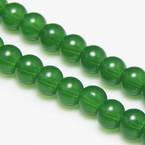Beads, Glass, Green , Round shape, Diameter 6mm, 20 Beads