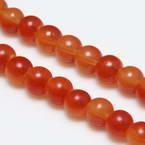 Beads, Glass, Pinkish red , Orange , Round shape, Diameter 6mm, 20 Beads