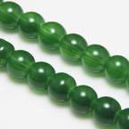 Beads, Glass, Dark green , Round shape, Diameter 8mm, 10 Beads