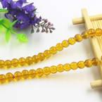 Beads, Imitation Crystal beads, Glass, Orange , Round shape, Diameter 6mm, 17 Beads