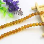 Beads, Imitation Crystal beads, Glass, Brown , Round shape, Diameter 6mm, 17 Beads