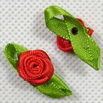 Small fabric flowers, red, 2.8cm x 1.3cm