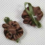 Small fabric flowers, brown, 2.5cm x 2cm