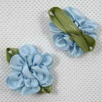 Small fabric flowers, blue, 3.2cm x 2.8cm