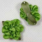 Small fabric flowers, Green, 3.2cm x 2.8cm