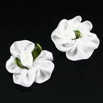 Small fabric flowers, Satin, white, green, 3cm x 3cm, 4  pieces