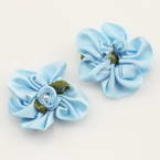 Small fabric flowers, Satin, blue, green, 3cm x 3cm, 4  pieces