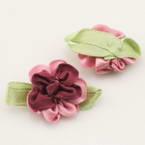 Small fabric flowers, Satin, purple, pink, 3.5cm x 2cm, 2  pieces