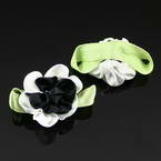 Small fabric flowers, Satin, black, white, 3.5cm x 2cm, 2  pieces