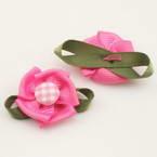Small fabric flowers, Satin, Magenta, green, 2.5cm x 4cm, 2  pieces