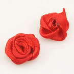 Small fabric flowers, Satin, red, 1.2cm x 1.2cm, 10  pieces