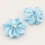 Small fabric flowers, Satin, blue, 2.5cm x 2.5cm, 4  pieces