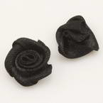Small fabric flowers, Satin, black, 1.2cm x 1.2cm, 10 pieces