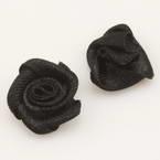 Small fabric flowers, Satin, black, 1.2cm x 1.2cm, 10 pieces
