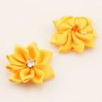Small fabric flowers, Satin, Mustard, 2.5cm x 2.5cm, 4 pieces