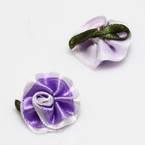 Small fabric flowers, Satin, Indigo, Light purple, 2.5cm x 2.3cm (approximate), 5 pieces