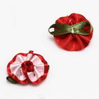 Small fabric flowers, Satin, red, Light pink, 2.5cm x 2.3cm (approximate), 5 pieces