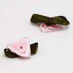 Small fabric flowers, Satin, pink, Dark green, 3cm x 1.8cm (approximate), 10 pieces