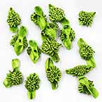 Small fabric flowers, Satin, Bright green, 1cm x 2.5cm (approximate), 15 pieces