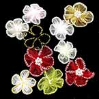 Small fabric flowers, Organza, Mixed colour, 2.5cm - 3.5cm (approximate), 10 pieces