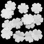 Small fabric flowers, Satin, white, 2.5cm x 2.5cm (approximate), 15 pieces