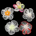 Small fabric flowers, Organza, Mixed colour, 3.8cm x 3.8cm (approximate), 5 pieces
