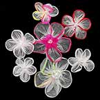 Small fabric flowers, Organza, Mixed colour, 3.8cm x 3.8cm (approximate), 7 pieces