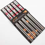 Chinese chopsticks, Stainless steel, Silver colour, 22cm, 5 Pair