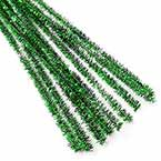 Felt covered wire, Metal and Polyester, green, 10 Felt covered wires, 30cm x 0.6cm