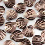 Sequins, brown, 13mm x 14mm, 190 pieces, 10g, Faceted designer shapes, Sequins are shiny