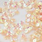 Sequins, Light orange, Diameter 5mm, 650 pieces, 5g, Faceted Discs, Sequins are shiny