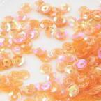 Sequins, orange, Diameter 5mm, 650 pieces, 5g, Faceted Discs, Sequins are shiny