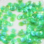 Sequins, green, Diameter 5mm, 650 pieces, 5g, Faceted Discs, Sequins are shiny
