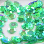 Sequins, green, Diameter 8mm, 250 pieces, 5g, Faceted Discs, Sequins are shiny