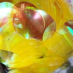 Sequins, Light Yellow, Diameter 30mm, 40 pieces, 10g, Disc shape, Sequins are shiny