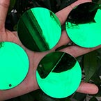 Sequins, green, Diameter 40mm, 22 pieces, 10g, Disc shape, Sequins are shiny