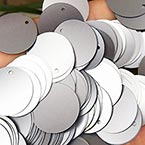Sequins, grey, Diameter 40mm, 22 pieces, 10g, Disc shape, Sequins are NOT shiny