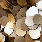 Sequins, Gold colour, Diameter 50mm, 13 pieces, 10g, Disc shape, Sequins are NOT shiny