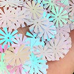 Sequins, white, Diameter 15mm, 200 pieces, 10g, Snowflake shape, Sequins are shiny