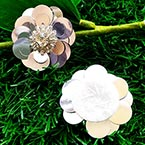 Sequin flower, Silver colour, 1 Sequin flower, 3cm