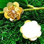 Sequin flower, Gold colour, 1 Sequin flower, 2.3cm