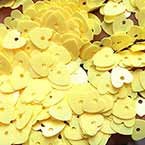 Sequins, Yellow, 10mm, 210 pieces, 5g, Heart shape, Sequins are NOT shiny