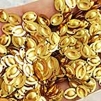 Sequins, Gold colour, 6mm x 8mm, 235 pieces, 3g, Oval, Sequins are shiny