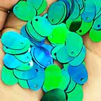 Sequins, Dark blue, 9mm x 13mm, 145 pieces, 5g, Oval, Sequins are shiny