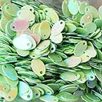 Sequins, Lime green, 5mm x 8mm, 255 pieces, 3g, Oval, Sequins are shiny