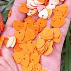 Sequins, orange, 10mm x 10mm, 200 pieces, 5g, Heart shape, Sequins are NOT shiny